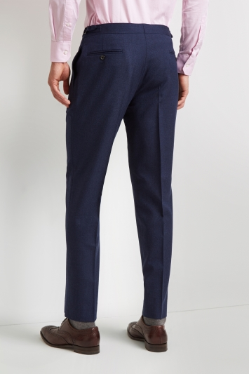 Hardy Amies Tailored Fit Blue Hopsack Trouser