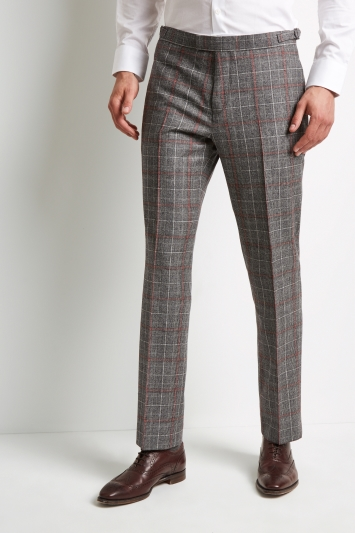 Hardy Amies Tailored Fit Black and White with Red Check Trouser