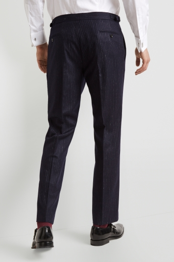 Hardy Amies Tailored Fit Navy Double Stripe Trouser