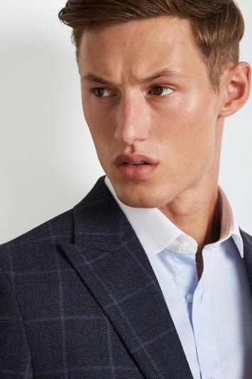 Hardy Amies Lock Brinsley fit shirt in navy blue