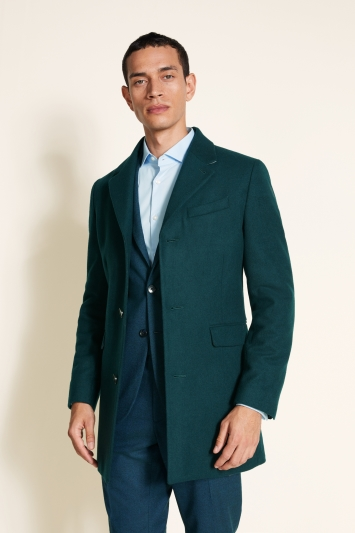 Moss London Slim Fit Teal Overcoat