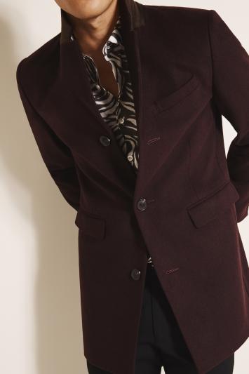 Moss London Slim Fit Berry Overcoat