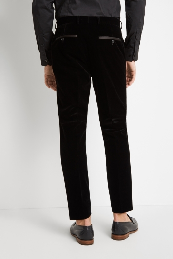 Moss London Skinny/Slim Fit Black Velvet Dress Trousers