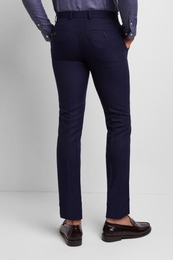 Moss London Skinny Fit Navy City Stripe Trousers