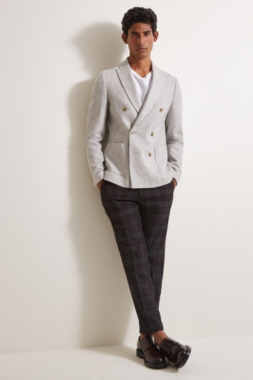 Moss London Skinny/Slim Fit Stone Flannel Double Breasted Jacket