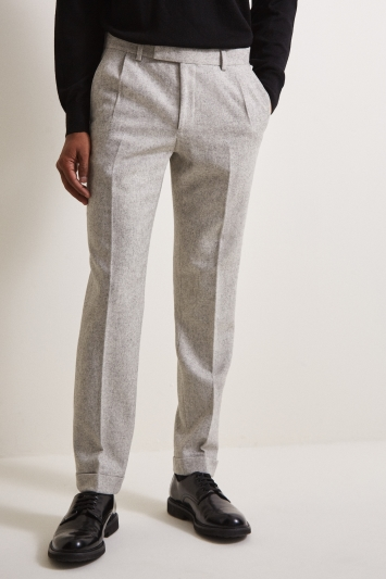 Moss London Skinny/Slim Fit Stone Flannel Pleated Trousers