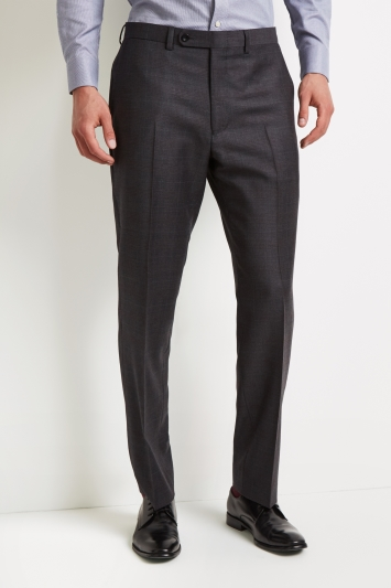 Ermenegildo Zegna Cloth Regular Fit Grey with Burgundy Check Trousers