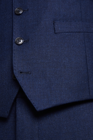 Moss 1851 Performance Tailored Fit Blue Milled Waistcoat