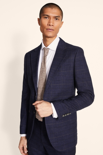 Moss London Slim Fit Navy Black Check Jacket