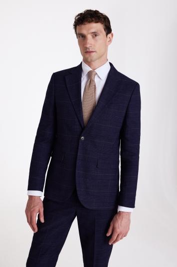 Moss London Slim Fit Navy Black Check Jacket