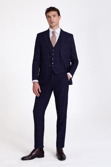 Moss London Skinny/Slim Fit Navy Black Check Jacket