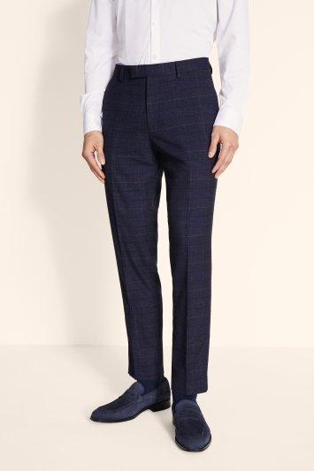 Moss London Slim Fit Navy Black Check Trousers