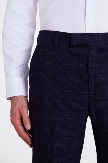 Moss London Skinny/Slim Fit Navy Black Check Trousers