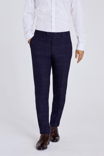 Moss London Slim Fit Navy Black Check Waistcoat