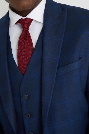 Moss London Skinny Fit Mouline Blue Check Jacket