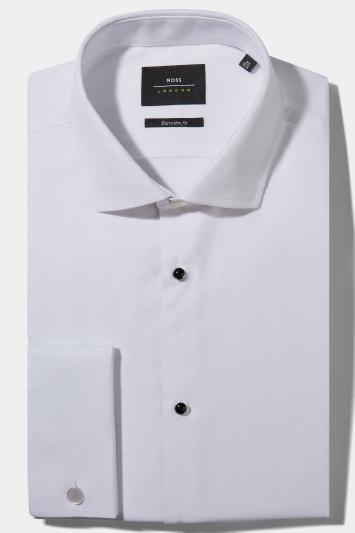 Moss London Premium Extra Slim Fit White Marcella Regular Collar Dress Shirt