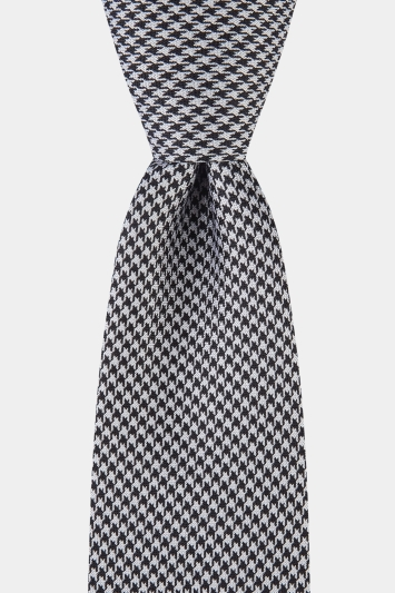 Moss 1851 Navy and White Puppytooth Tie