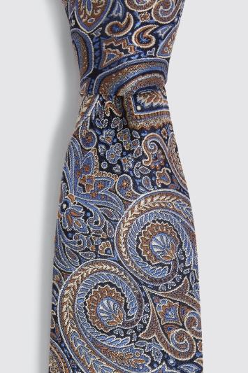 Blue & Gold Paisley Silk Tie