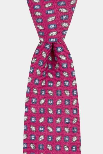 Moss 1851 Magenta Geo Printed Wool Tie