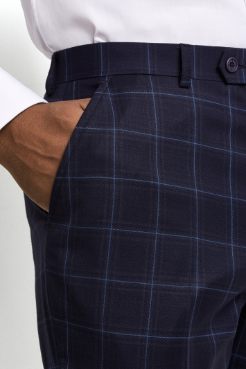 Ted Baker Performance Tailored Fit Navy WindowpaneTrousers