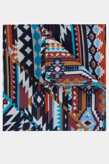 Moss London Aztec Multi Colour Pocket Square