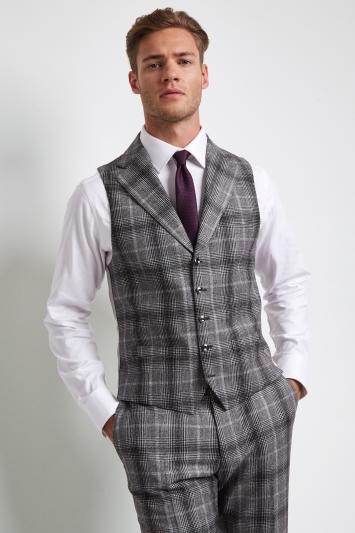 Moss London Premium Skinny Fit Black and White Graphic Check Waistcoat