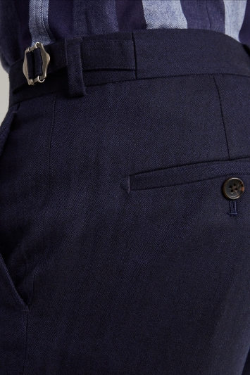 Moss London Premium Slim Fit Ink Herringbone Tweed Trousers
