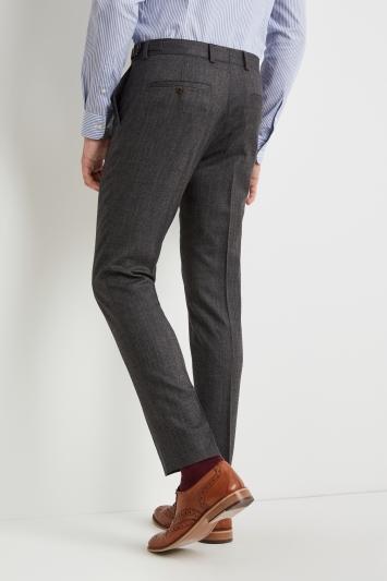 Moss London Premium Slim Fit Charcoal Herringbone Tweed Trousers