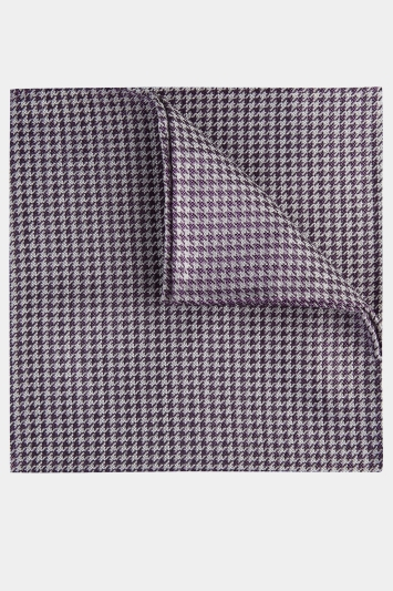 Moss 1851 Lilac & White Puppytooth Pocket Square