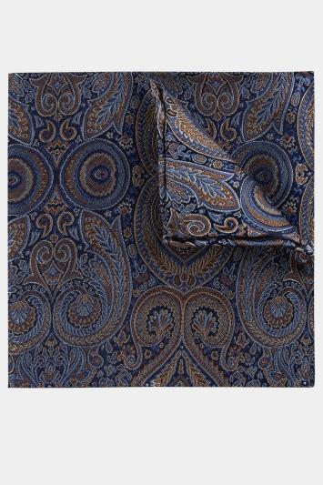 Blue & Gold Paisley Silk Pocket Square