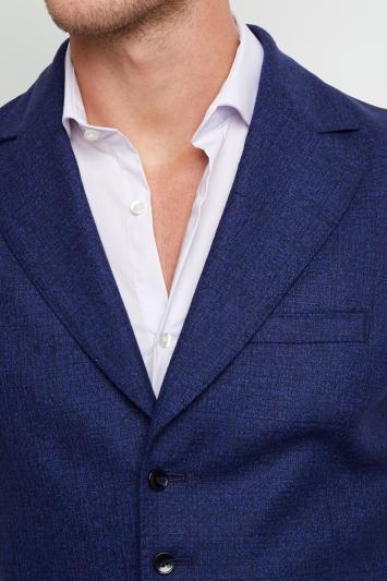 Moss London Premium Skinny Fit Bright Blue Boucle Texture Waistcoat