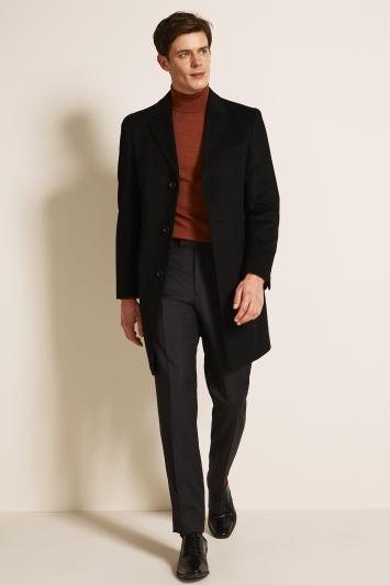 Moss 1851 Tailored Fit Black Epsom Overcoat