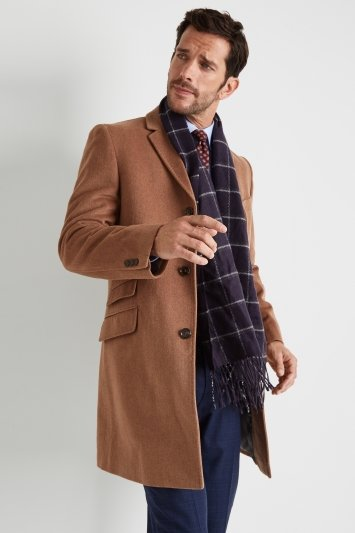 Moss 1851 Tailored Fit Light Camel Epsom Overcoat