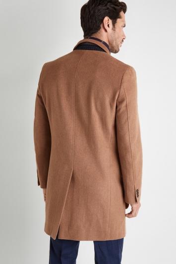Moss 1851 Tailored Fit Light Camel Epsom Overcoat