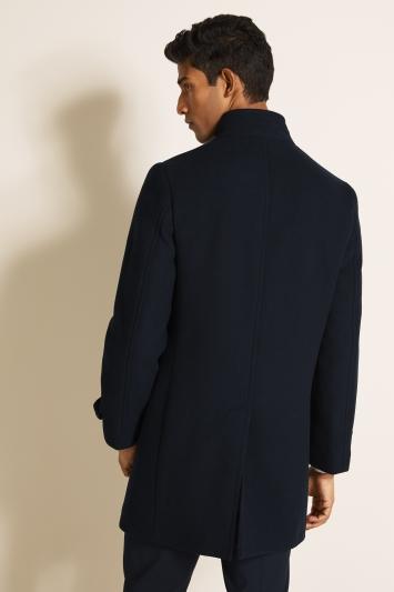 DKNY Slim Fit Navy Twill Funnel Neck Coat