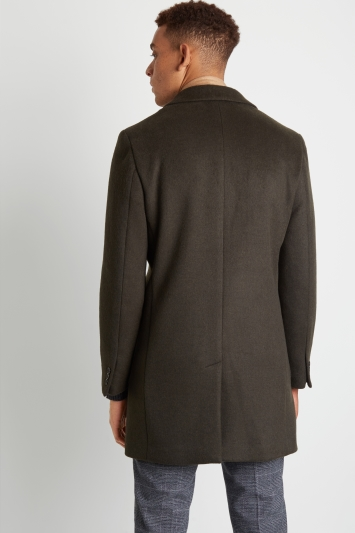 Moss London Slim Fit Green Overcoat with Patch Pockets