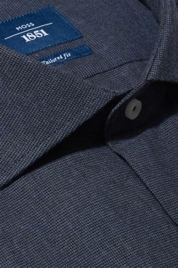 Moss 1851 Tailored Fit Blue Single Cuff Brushed Cotton Shirt