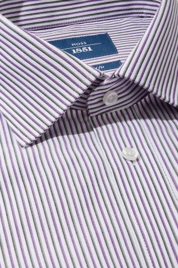 Moss 1851 Tailored Fit Purple Single Cuff Stripe Non Iron Shirt