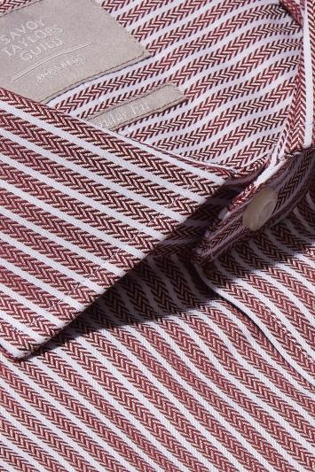 Savoy Taylors Guild Regular Fit Wine Single Cuff Herringbone Stripe Shirt