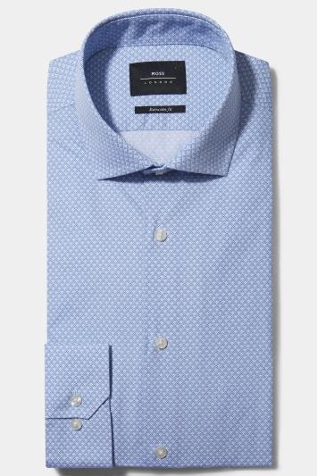 Moss London Premium Extra Slim Fit Sky Single Cuff Diamond Print Shirt