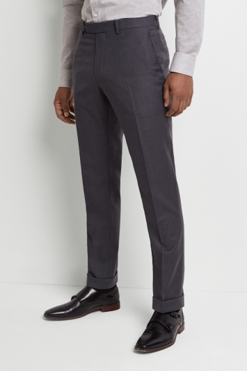 Moss 1851 Tailored Fit Grey Wool Rich Brushed Trousers