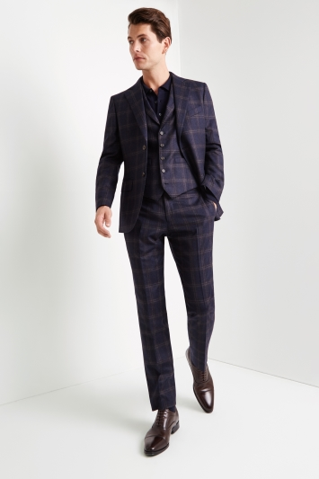 Tailored Fit Navy Bold Check Jacket