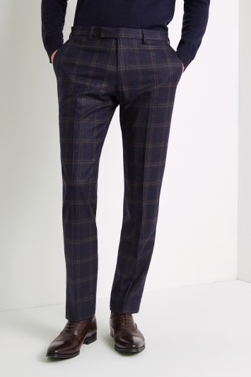 Tailored Fit Navy Bold Check Trousers