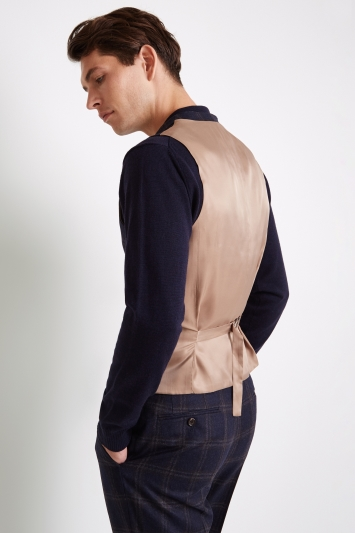 Vitale Barberis Canonico Tailored Fit Navy Bold Check Waistcoat