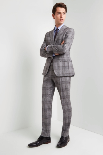 Tailored Fit Grey Bold Check Jacket