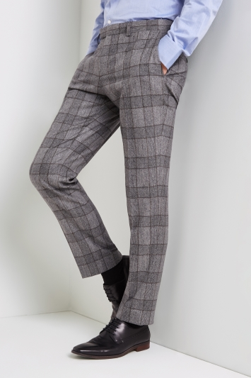 Tailored Fit Grey Bold Check Trousers