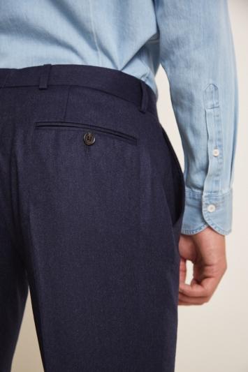 Barberis Tailored Fit Plain Blue Trousers