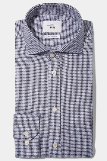 Moss 1851 Tailored Fit Grey Single Cuff Textured Dobby Zero Iron Shirt