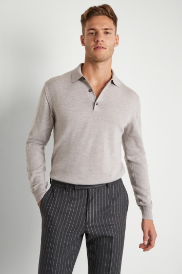 Moss 1851 Silver Merino Wool Polo-Neck Jumper