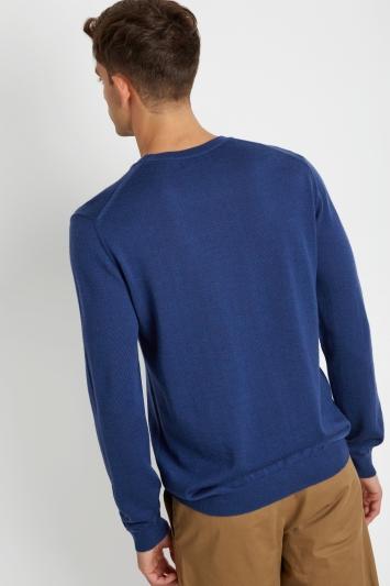 DKNY Blue Merino Wool Crew-Neck Jumper
